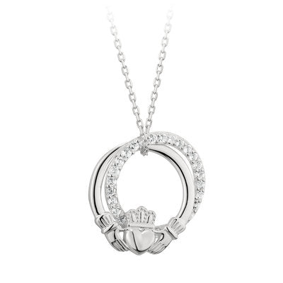 Sterling Silver Claddagh CZ Circle Pendant