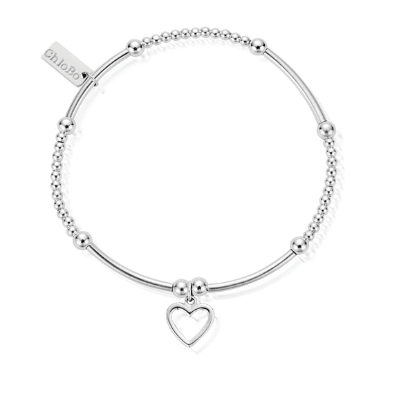 ChloBo Sterling Silver Cute Mini Open Heart Bracelet