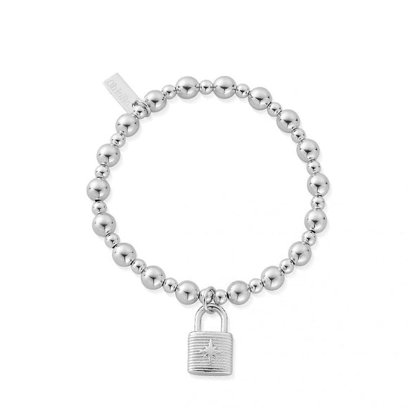 ChloBo Sterling Silver Mini Small Ball Padlock Bracelet