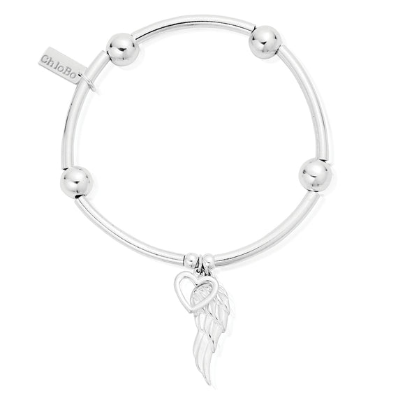 ChloBo Sterling Silver Noodle Ball Open Heart & Angel Wing Bracelet