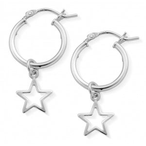 ChloBo Sterling Silver Open Star Hoop Earrings