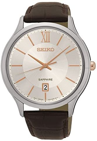 SEIKO GENTS QUARTZ WATCH WITH BROWN LEATHER STRAP