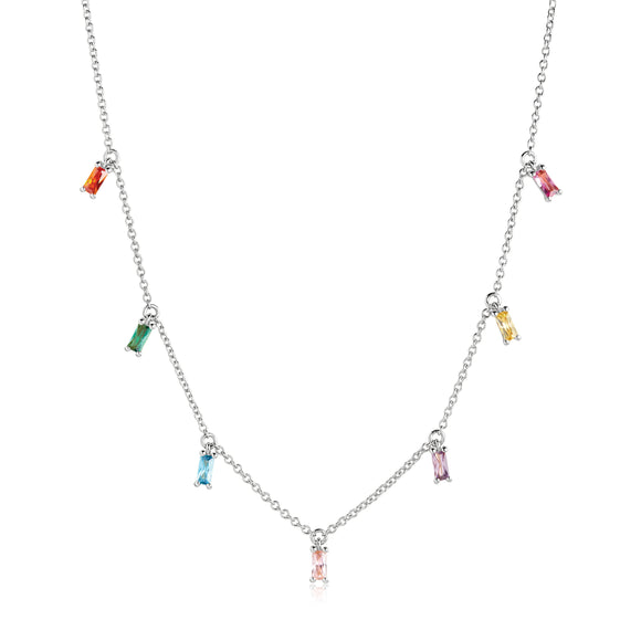 SIF JAKOBS NECKLACE PRINCESS BAGUETTE WITH MULTICOLOURED ZIRCONIA