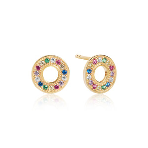 SIF JAKOBS EARRINGS VALIANO - 18K GOLD PLATED WITH MULTICOLOURED ZIRCONIA