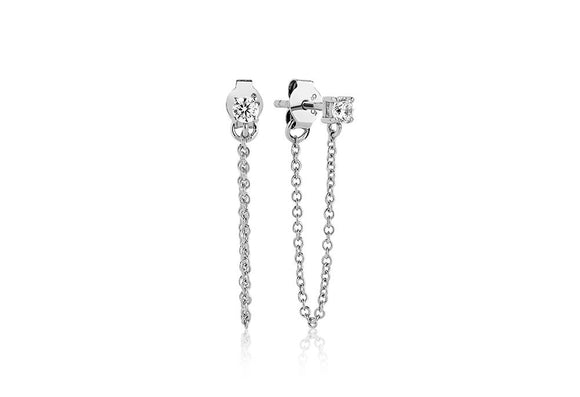 SIF JAKOBS EARRINGS PRINCESS PICCOLO LUNGO WITH WHITE ZIRCONIA