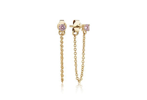 SIF JAKOBS EARRINGS PRINCESS PICCOLO LUNGO - 18K GOLD PLATED WITH PINK ZIRCONIA