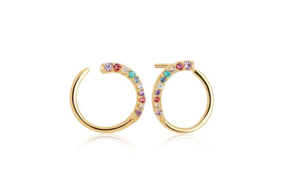 SIF JAKOBS EARRINGS PORTOFINO WITH MULTICOLOURED ZIRCONIA - 18K GOLD PLATED