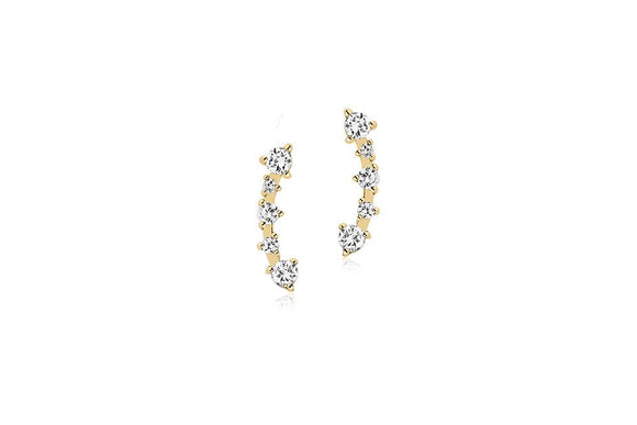 SIF JAKOBS EARRINGS PRINCESS WITH WHITE ZIRCONIA - 18K GOLD PLATED