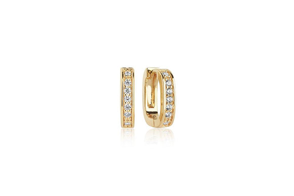 SIF JAKOBS EARRING MATERA PICCOLO WITH WHITE ZIRCONIA - 18K GOLD PLATED