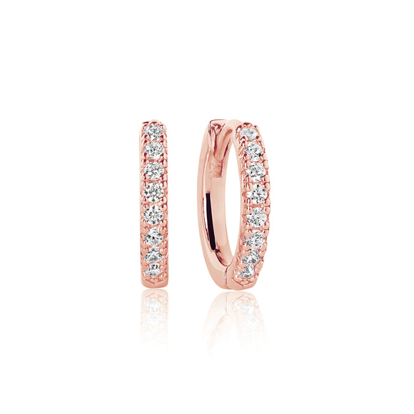 SIF JAKOBS EARRINGS ELLERA MEDIO - 18K ROSE GOLD PLATED WITH WHITE ZIRCONIA