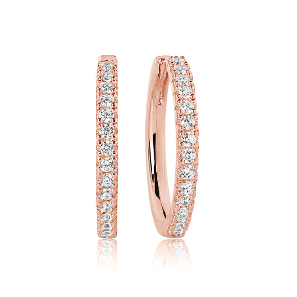SIF JAKOBS EARRINGS ELLERA GRANDE - 18K ROSE GOLD PLATED WITH WHITE ZIRCONIA