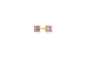 SIF JAKOBS EARRINGS PRINCESS PICCOLO ROUND - 18K GOLD PLATED WITH PINK ZIRCONIA