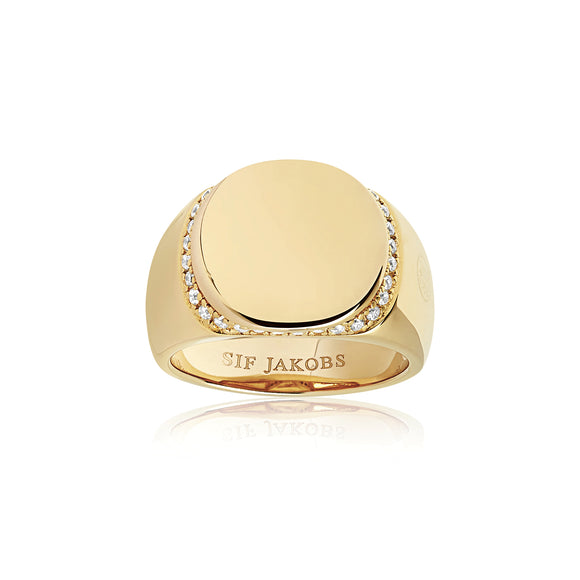 SIF JAKOBS RING FOLLINA - 18K GOLD PLATED WITH WHITE ZIRCONIA