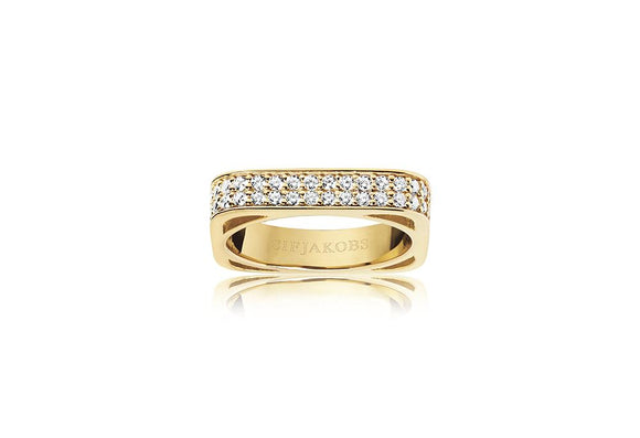 SIF JAKOBS RING MATERA - 18K GOLD PLATED WITH WHITE ZIRCONIA