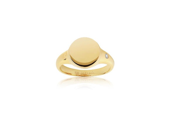 SIF JAKOBS RING FOLLINA PIANURA PICCOLO - 18K GOLD PLATED WITH WHITE ZIRCONIA