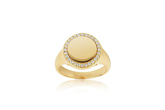 SIF JAKOBS RING FOLLINA GRANDE - 18K GOLD PLATED WITH WHITE ZIRCONIA
