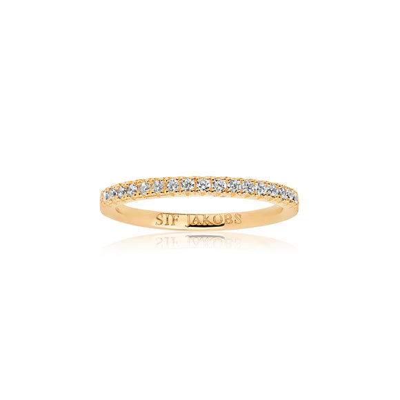 SIF JAKOBS RING ELLERA - 18K GOLD PLATED WITH WHITE ZIRCONIA