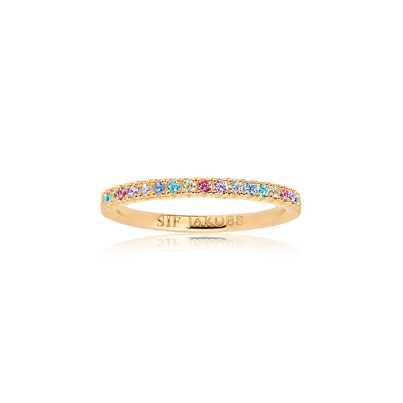 SIF JAKOBS RING ELLERA - 18K GOLD PLATED WITH MULTICOLOURED ZIRCONIA