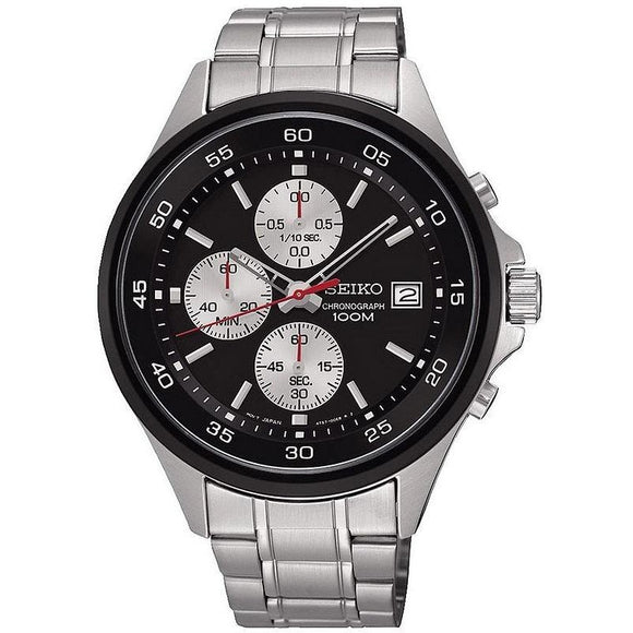 SEIKO QUARTZ CHRONOGRAPH GENTS STAINLESS STEEL BLACK DIAL BRACELET WATCH