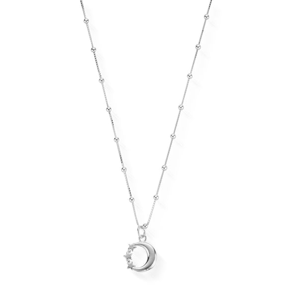 ChloBo Sterling Silver Bobble Chain Moon & Stars Necklace