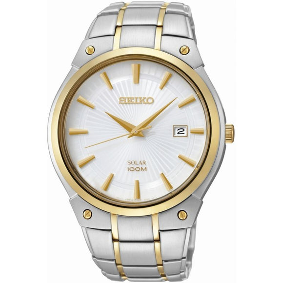 SEIKO GENTS SOLAR TWO TONE BRACELET WATCH