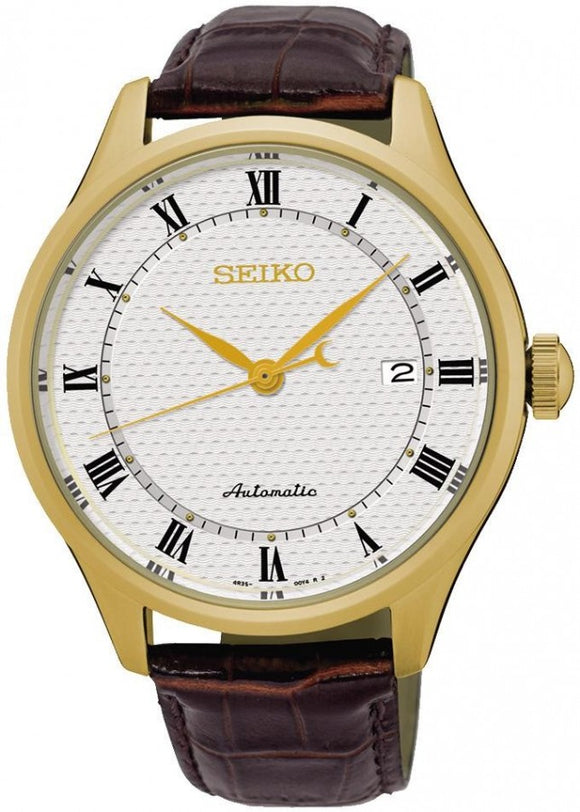 SEIKO GENTS AUTOMATIC WATCH WITH BROWN LEATHER STRAP