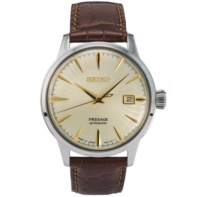 SEIKO PRESAGE COCKTAIL AUTOMATIC GENTS CREAM DIAL STRAP WATCH