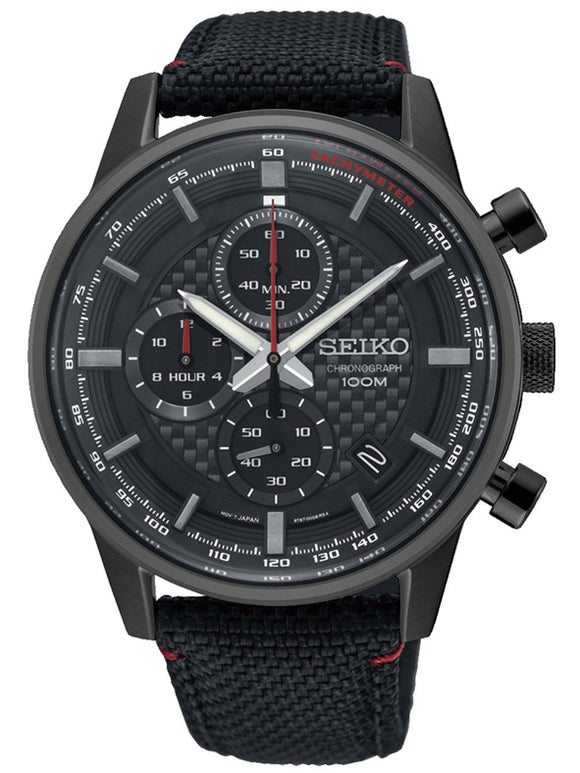 Seiko Mens Chronograph Quartz Watch with Leather Strap