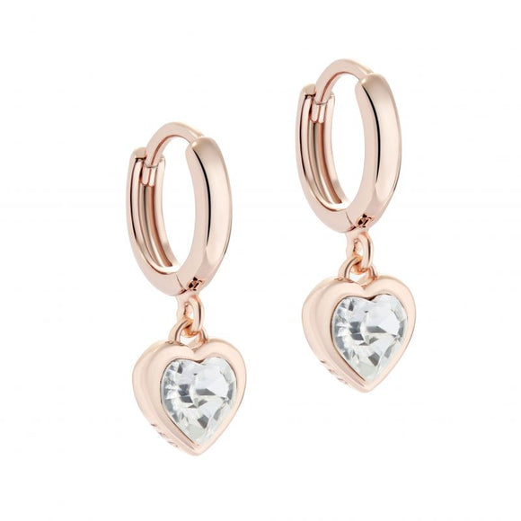 TED BAKER Crystal Heart Rose Gold Ear Charms