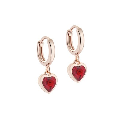TED BAKER HANNIY CRYSTAL HEART ROSE GOLD HUGGIE EARRINGS