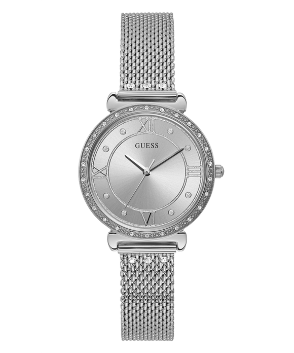 GUESS SILVER TONE CASE SILVER TONE STAINLESS STEEL/MESH WATCH