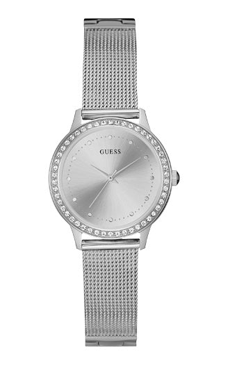 GUESS SILVER TONE CASE SILVER TONE STAINLESS STEEL CZ BEZEL WATCH