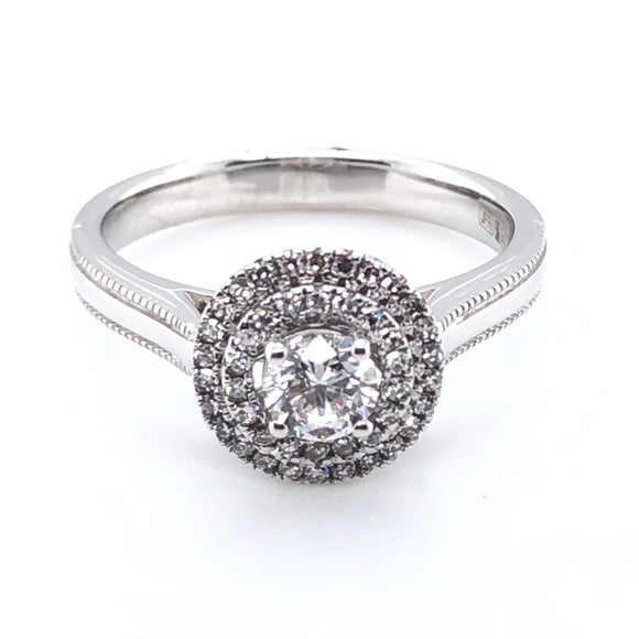 18ct White Gold Diamond Double Halo Ring