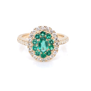 9ct Gold Emerald & Diamond Double Cluster Ring