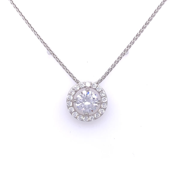 Sterling Silver CZ Open Halo Necklace