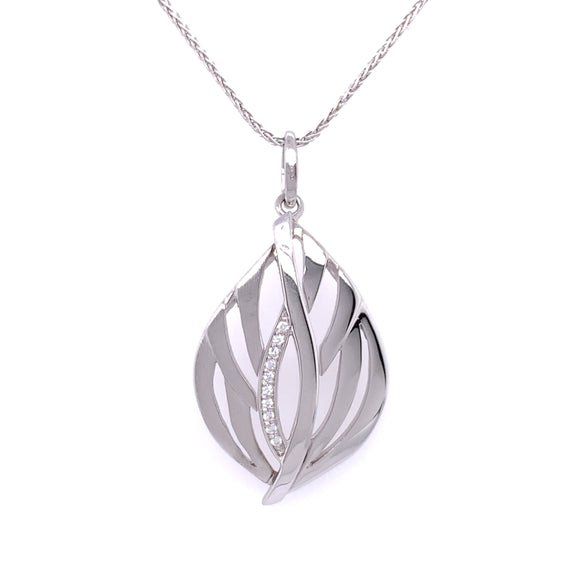Sterling Silver CZ Open Leaf Necklace