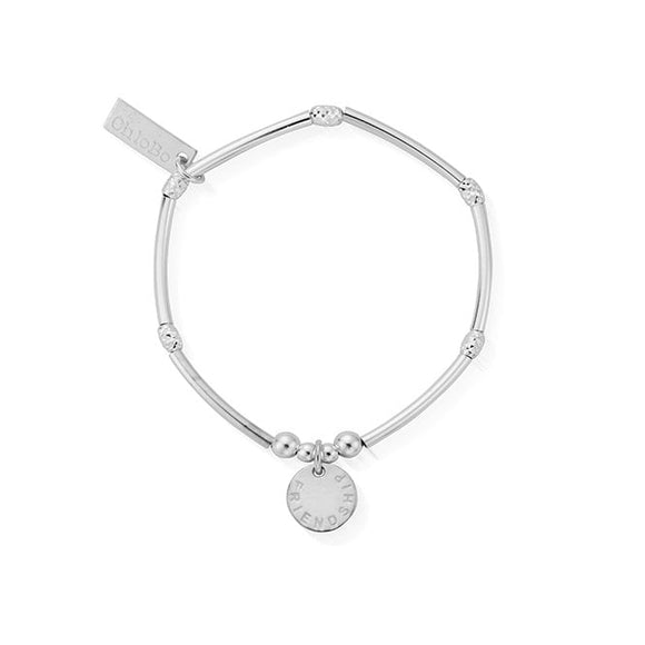 ChloBo Sterling Silver Mini Noodle Sparkle Rice Friendship Disc Bracelet/Child Size