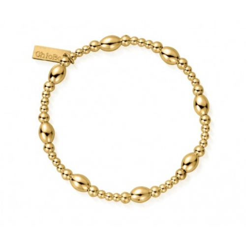 ChloBo Sterling Silver/Gold plated  Cute Oval Layering Bracelet