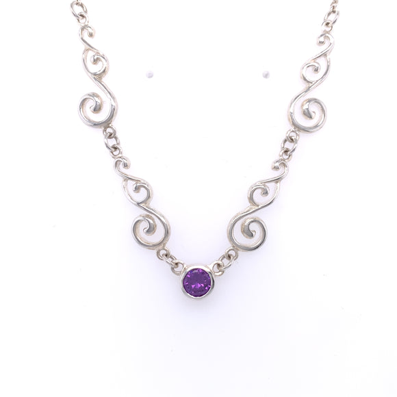Silver Amethyst Celtic Scroll Necklace