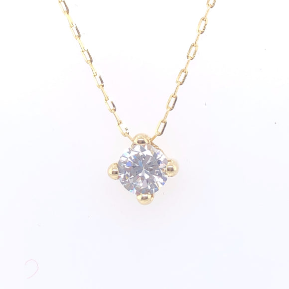 9ct Gold CZ Four-Claw Slider Pendant