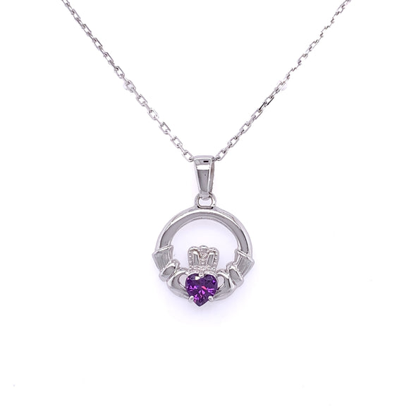 Sterling Silver Purple CZ Claddagh Pendant