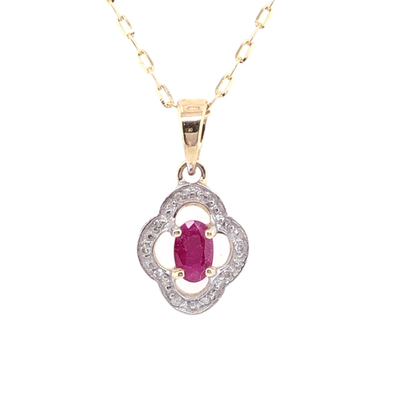 9ct Gold  Ruby & Diamond Vintage Style Pendant