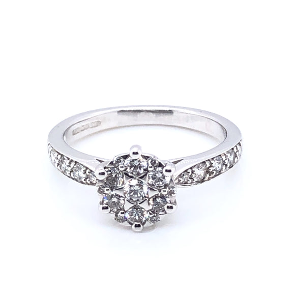 9ct White Gold Diamond Halo Solitaire 0.50ct Ring
