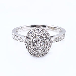 9ct White Gold Diamond Deco Oval Ring
