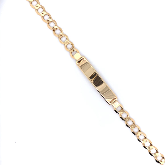 9ct Gold Ladies Identity Bracelet Curb Chain