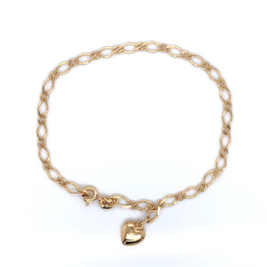 9ct Gold Figaro Bracelet with Heart Charm