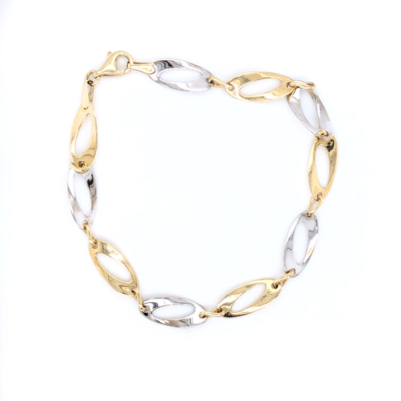 9ct Gold Oval Twist Two-tone Bracelet