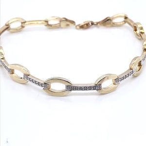 9ct Gold CZ Bars & Ovals Bracelet