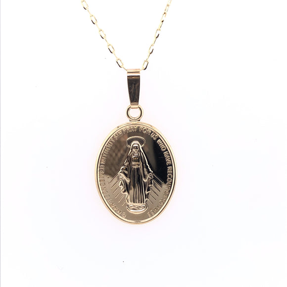 9ct Yellow Gold Medium  Miraculous Medal & Chain