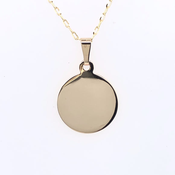 9ct Gold Engravable Disc Pendant